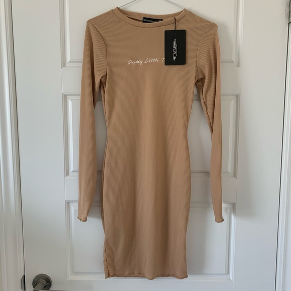 NWT PrettyLittleThing Ribbed Dress in Stone